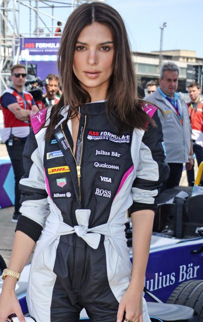 Emily Ratajkowski First Female Celebrity to Drive Formula E Race Car