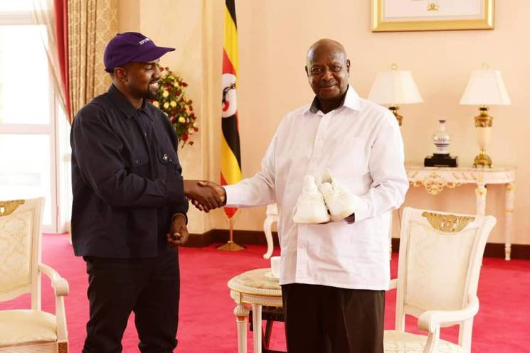 Kanye West Met the President of Uganda and Presented him a Pair of Yeezys