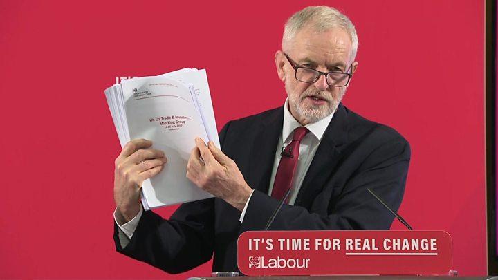 Corbyn reveals secret US-UK trade talks on NHS in unredacted documents
