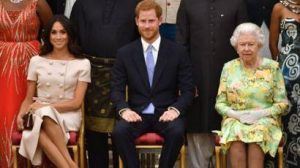 Duke and Duchess of Sussex with Queen Elezabeth